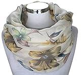 PiriModa XXL Damen Schal leichter Schlauchschal Viele Farben Blumen (Modell 3)