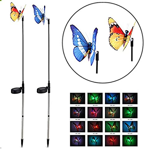 Solar Garden Yard Stake Light Fluttering Butterfly with Multi-Color Changing,Oenbopo