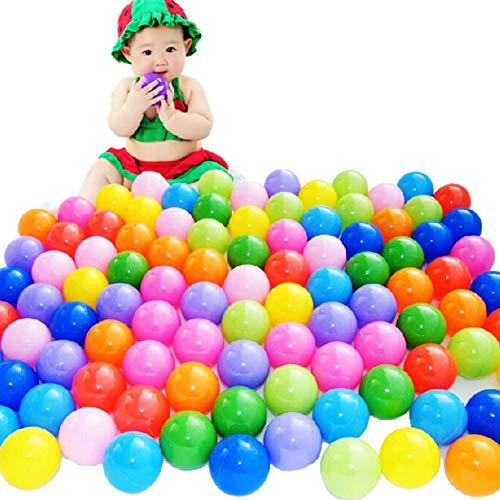 Mystery&Melody 100 Stück Weichplastik Kids Play Balls - ungiftig - Crush Proof & Keine scharfen Kanten; Ideal für Baby- oder Kleinkind-Bällebad, Kinderbecken, Indoor-Laufstall & Partys (Für Kleinkinder Indoor-bällebad)