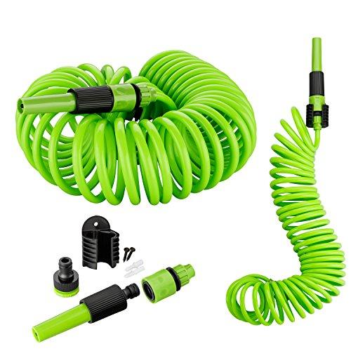 Kinzo 10 Meter Gartenschlauch Komplettset | Spiralschlauch inkl. Spritzdüse, Wandhalterung & Montagematerial | Schnellkupplung | Wasserhahnanschluss 3/4 Zoll (Grün)