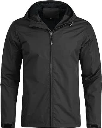 Mens Hooded Windbreaker Jacket Lightweight Outdoor Windproof Waterproof Jackets Casual Rain Coat