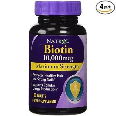 Natrol: Biotin, 10,000 mcg Maximum Strength, 100 tabs (4 pack) from Natrol