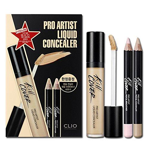 Clio Pro Artist Liquid Concealer with Pencil Concealer Brighter Set (2-BP (Lingerie))