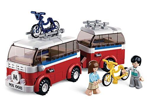 Lego-sets Weltkrieg (Funstones Bausteine Set Reise Camper Wohnmobil + Fahrräder + Figuren - Bau Steine Geschenk Idee)