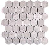 Mosaik Fliese Marmor Naturstein Hexagon Marmor grau Streifen für BODEN WAND BAD WC DUSCHE KÜCHE FLIESENSPIEGEL THEKENVERKLEIDUNG BADEWANNENVERKLEIDUNG Mosaikmatte Mosaikplatte