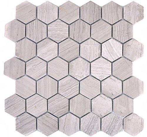 Marmor Mosaik-fußboden-fliese (Mosaik Fliese Marmor Naturstein Hexagon Marmor grau Streifen für BODEN WAND BAD WC DUSCHE KÜCHE FLIESENSPIEGEL THEKENVERKLEIDUNG BADEWANNENVERKLEIDUNG Mosaikmatte Mosaikplatte)