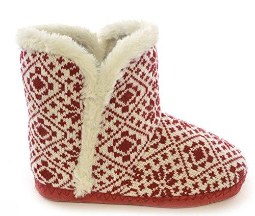 Slumberz en tricot pour femme Motif jacquard Fair Isle & bordure imitation fourrure avec doublure en fourrure pour chausson FT0661 Rouge - rouge