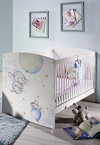 Wohnorama 70x140 Babybett höhenverstellbar inkl. Lattenrost Jemma von Rauch Packs Alpinweiß/Print by