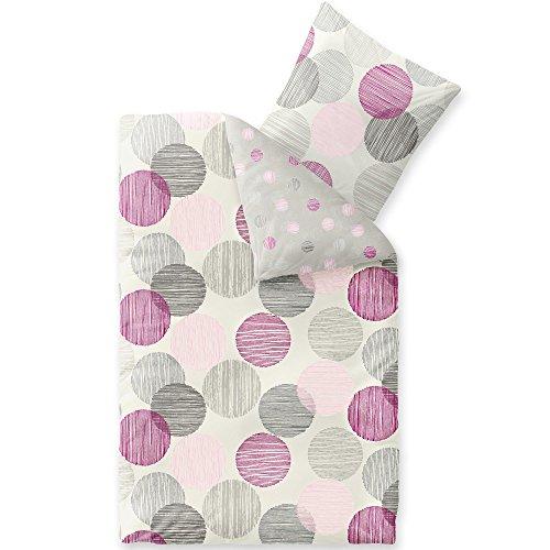 Lila Rosa Streifen (CelinaTex Winter Bettwäsche 155x220 Microfaser Fleece Bettbezug mit 80x80 Kissenbezug Style Bettgarnitur Finja Wendedesign Streifen Kreise grau lila rosa Creme 5000165)