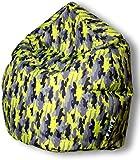 Sitzsack Camouflage Tropfenform für In & Outdoor | XL 300 Liter - Kiwi - in 5 versch. Farben und 3 Größen