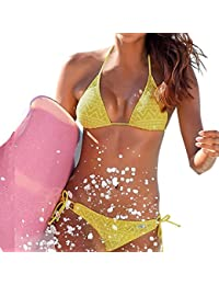 Venta caliente !bikini, FeiXiang♈Mujeres Nuevo 2 piezas traje de baño Bikini Set triángulo vendaje Net Bikini Push Up traje de baño traje de baño ropa de playa Sexy traje de baño poliéster 2018 (XL, Amarillo)