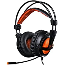 EasySMX Casque Audio Filaire avec Basses Profondes, Ultraléger, Ecouteur Hi-Fi de 3.5mm Jack avec LED Lampe Luminosité, bien anti-Bruit, Compatible pour PC, Tablettes, MP3, MP4, HUAHEI, iPhone 6/6s/6s plus, Sony, Samsung etc. (Noir+Orange)