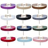 Modeschmuck Halskette Velvet Choker – ZWOOS 12 Stück Frauen Gotisch Samt Halskette Velvet Choker Gotik Samtkragen Halsketten für Damen Frauen Mädchen, Breite 10mm