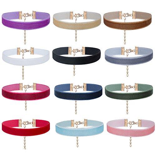 e Velvet Choker - ZWOOS 12 Stück Frauen Gotisch Samt Halskette Velvet Choker Gotik Samtkragen Halsketten für Damen Frauen Mädchen, Breite 10mm ()