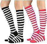 Chalier 3 Paar Damen Lange Gestreifte Socken über Knie Oberschenkel