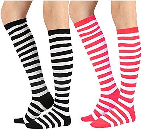 Chalier 3 Paar Damen Lange Gestreifte Socken über Knie Oberschenkel Hohe Socken Strumpf (Knie Hoch Hohe Oberschenkel Socken)