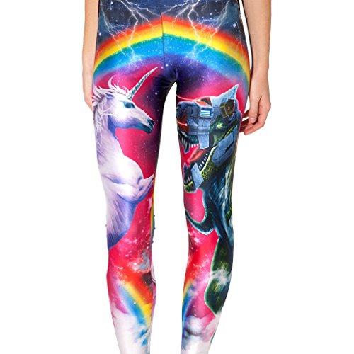 DRESHOW Damen Strumpfhose Leggings Workout Yoga Running Fitness Strecth Pants Mehrfarbig Eight Colored