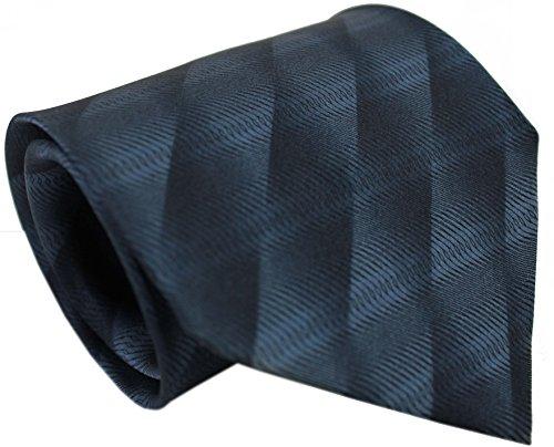 Krawatte Seidenkrawatte aus 100% Seide grau schwarz Streifen R-150 (Schwarz Seidenkrawatte Geometrische)