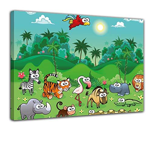 (Kunstdruck - Kinderbild Dschungeltiere Cartoon I - Bild auf Leinwand - 80x60 cm 1 teilig - Leinwandbilder - Kinder - Tropen - Palmen - exotisch - niedlich)