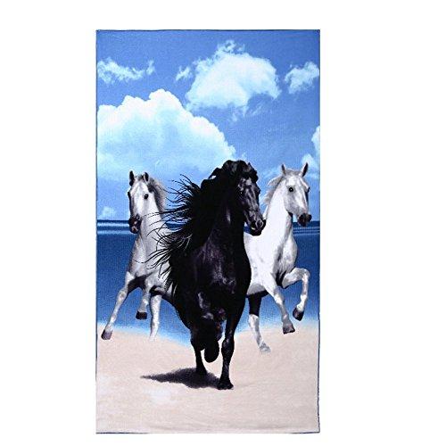 Strandtücher Groß Pferd Blau Bedruckt 100 x 180 cm Microfaser Badetuch für Erwachsene Damen...