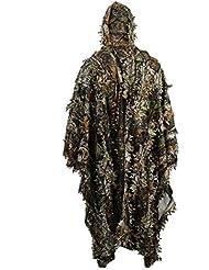 Zicac Outdoor – Poncho de camuflaje con hojas en 3D para adultos – Capa Stealth Ghillie – Ropa estilo militar para senderismo y caza – Talla libre