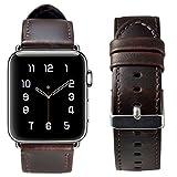#4: Globus Geschaft Leather Watch Strap Replacement for Apple Watch Series 3 Series 2 Series 1, Dark Brown Apple Watch Band 38mm