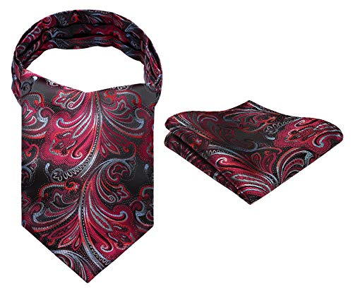 Hisdern Herren Floral Paisley Jacquard gewebt Ascot Set rot -