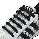 Newkeen Tie Shoelaces for Kids and Adults- silicone elastico piatto Laces Athletic scarpa da corsa con multicolore per Scarpe Sneakerboots bordo e scarpe casual (Black)