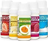 ALPHAPOWER FOOD Vegan Natur- Aroma liquid Konzentrat, Geschmack 5x10ml Set, Flavour Drops, Flavdrops Flavoring System, Zuckerfrei, leckere flave Tropfen für Lebensmittel Shakes, Backaroma, Wasser