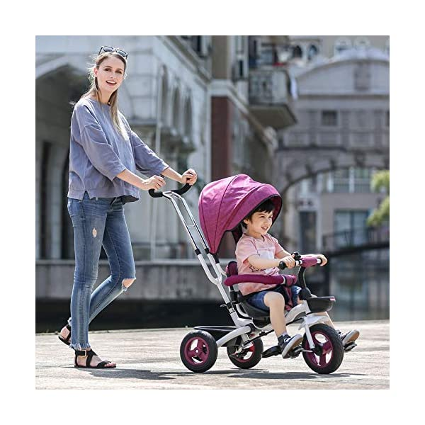 BGHKFF 4 In 1 Childrens Folding Tricycle 6 Months To 5 Years Rear Wheel With Brake Folding Trike 360° Swivelling Saddle Folding Sun Canopy Childrens Tricycles Maximum Weight 25 Kg,Purple BGHKFF ★Material: Steel frame, suitable for children from 6 months to 5 years old, the maximum weight is 25 kg ★ 4 in 1 multi-function: can be converted into baby strollers and tricycles. Remove the hand putter and awning, and the guardrail as a tricycle. ★Safety design: golden triangle structure, safe and stable; front wheel clutch, will not hit the baby's foot; guardrail; rear wheel double brake 1
