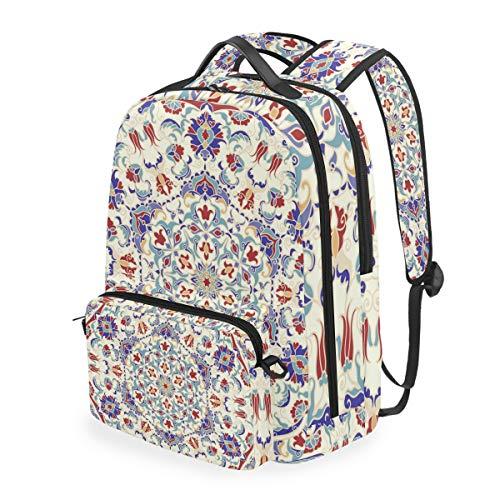 Vinlin Abnehmbar Schulbüch Tasche Mandala Islam Arabisch Indisch Student Laptop Rucksack Tagesrucksack Rucksäcke für Kumpels Mädchen Frau Männer