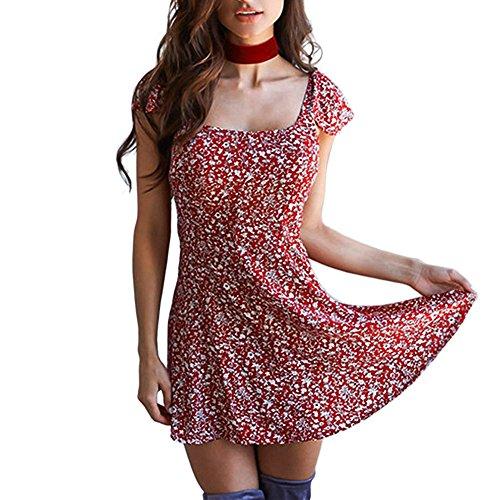 Rock Lady Knielänge Damen Sexy Kurzarm Square Kragen gedruckt Strand rückenfreies Minikleid Flapper Kleider Pailletten Kleid Dirndl Blumenrock