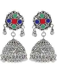 """Young & Forever """"Tribal Muse Collection"""" Splendid Brass Jaipur Jewels Antique Silver Oxidized Earrings For Girls..."""