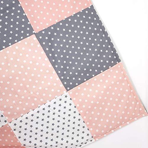 Sugarapple Patchwork Decke, Paket Stoffe zum Nähen, Set Patchwork Stoffe für Baby und Kinder im Mix rosa und grau, Set aus Vier Baumwollstoffen und Vlies