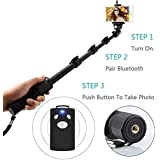 US1984 1288 Bluetooth Selfie Stick For Smartphones with Bluetooth Remote Combo