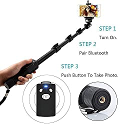 """Thick, Long & Sturdy  Hard anodized aluminum, 1mm thickest tube, retracted to 18"""", and extended to 50"""", Bluetooth Flip Lock Monopod provides a strong support for daily use of all your needs.   All-in-One Design  Bluetooth Monopod works with virtu..."""
