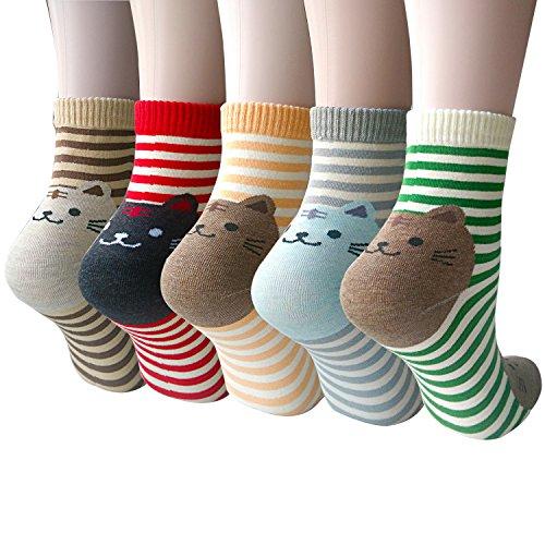 Süße Damen Mädchen Socken 4/5 Paar, mit Lustiger Tiere Malerei (MIX 1)