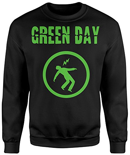 Felpa Unisex Green Day Green Print - Felpa Set in girocollo LaMAGLIERIA Nero