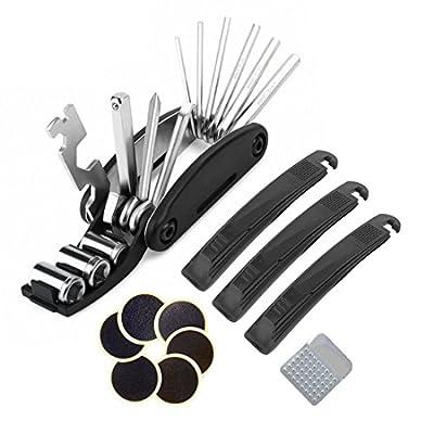 Bike Tyre Repair Kits - Beeway® Multifunctional Bicycle Repair Tool and Quick Puncture Repair Kit - 3 Tyre Levers, 6 Emergency Glue-less Patches and Metal Rasp by BEEWAY