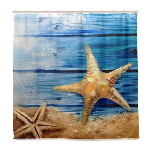 vinlin Ölgemälde Ocean Seestern Wasserdicht Badezimmer Zubehör Vorhang für die Dusche Badewanne Vorhang 182,9x 182,9cm