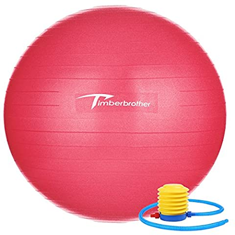 Timberbrother Anti-Burst Gymnastikball / Swiss Ball 65 cm Durchmesser mit Pumpe f¨¹r Yoga, Pilates, Fitness, Physiotherapie, Fitnessstudio und Home Exercise (Rot)