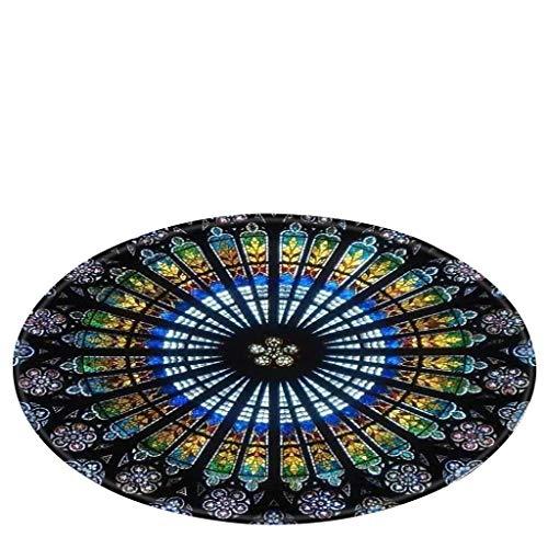 SHOBDW Vintage Stil Notre Dame de Paris Glasfenster gemaltes Digitaldruckteppich Drucken Tapisserie 80 cm in Diameter Runde Küche und Anti-Rutsch-Matte Badteppich -