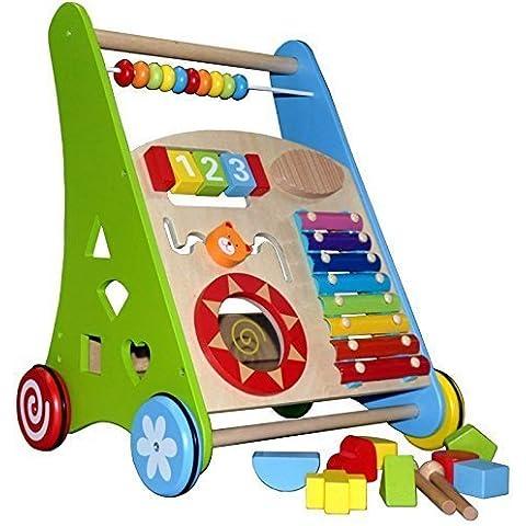 Andador ~Actividad Walker ~ Baby Walker de madera con Xylofón y Holzsteckspiel