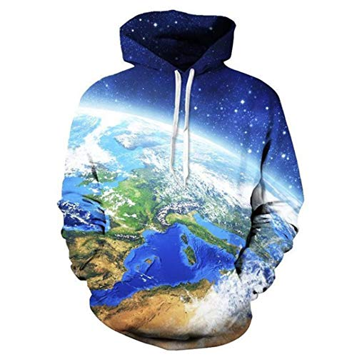 Das Weltkarten-Kugel-Blau-Erde 3D ganz vorbei gedruckt Hoodies-Taschen Sweatshirt ALMOSUN Hoodies S