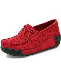 Hishoes Plateau Sneaker Damen Keilabsatz Loafers Mokassin Platform Laufschuhe Turnschuhe Wedge Trainers Casual Fitness Creeper Schuhe gkYZLkm7HB