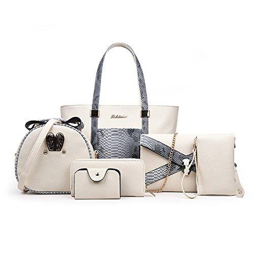 Tisdaini Damen Handtasche Mode Serpentin Paket sechs Sets + Schulter diagonal Paket + Geldbörse -