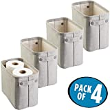 mDesign 4er-Set Zeitungskorb fürs Bad – stilvolle Toilettenpapier Aufbewahrung aus Baumwolle – praktischer Aufbewahrungskorb für Magazine, Handtücher etc. – hellgrau