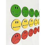 Smileyboard - Juego de 30 imanes de caras (10 caras verdes sonriendo, 10 caras amarillas neutrales, 10 caras rojas tristes), 2 cm de diámetro