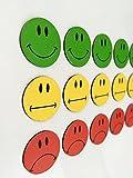 30 bunte Smiley Magnete 10 gruene lachende Smileys  10 gelbe neutrale Smileys  10 rote traurige Smileys  Durchmesser 2cm  z.B. fuer Prae