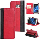 DENDICO Galaxy S7 Edge Hülle, Premium Leder Wallet Tasche Flip Schutzhülle für Samsung Galaxy S7 Edge, Handytasche Klappbar Tasche Flip Case - Rot